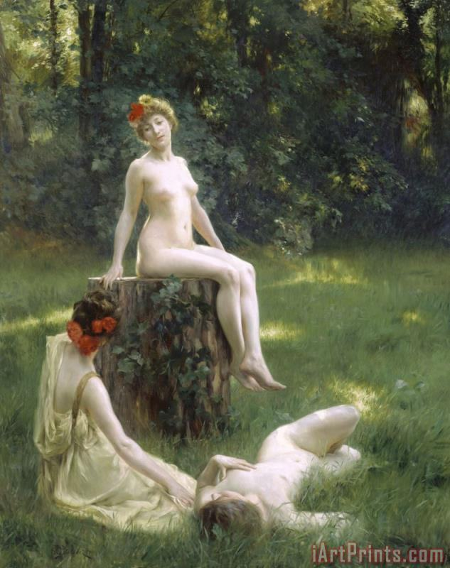 The Glade painting - Julius Leblanc Stewart The Glade Art Print