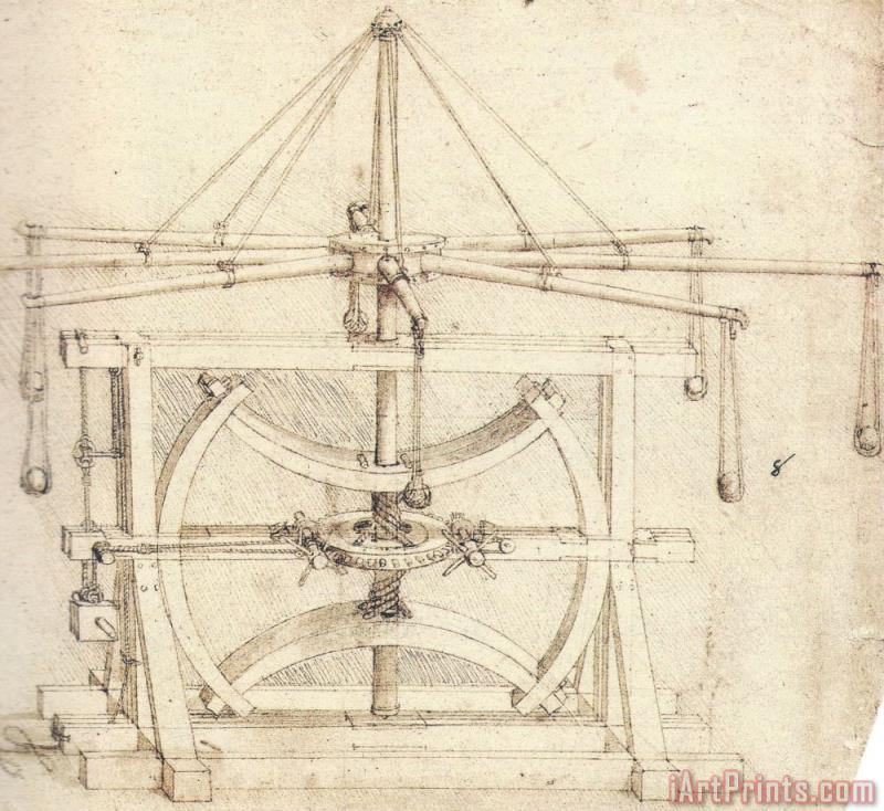 Leonardo da Vinci Flywheel Mechanical Drawing Art Print