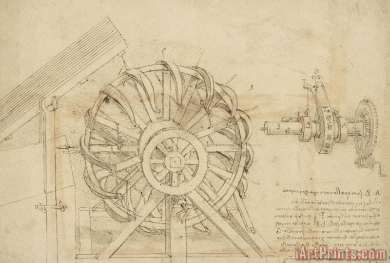 Great Sling Rotating On Horizontal Plane Great Wheel And Crossbows Devices From Atlantic Codex painting - Leonardo da Vinci Great Sling Rotating On Horizontal Plane Great Wheel And Crossbows Devices From Atlantic Codex Art Print
