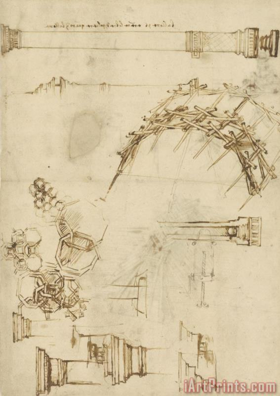Leonardo da Vinci Screw Breech Bombard Decorative Geometrical Drawings Framework Of Self Supporting Military Bridge Art Print