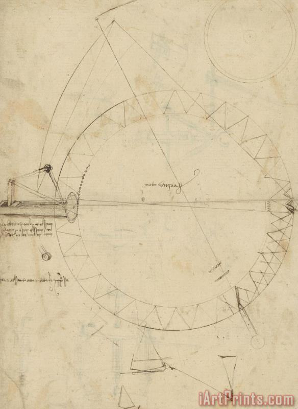 Wheel Sketch Of Drawing In Folio 956 painting - Leonardo da Vinci Wheel Sketch Of Drawing In Folio 956 Art Print