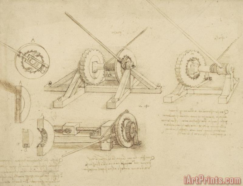 Winch Great Spring Catapult And Ladder From Atlantic Codex painting - Leonardo da Vinci Winch Great Spring Catapult And Ladder From Atlantic Codex Art Print