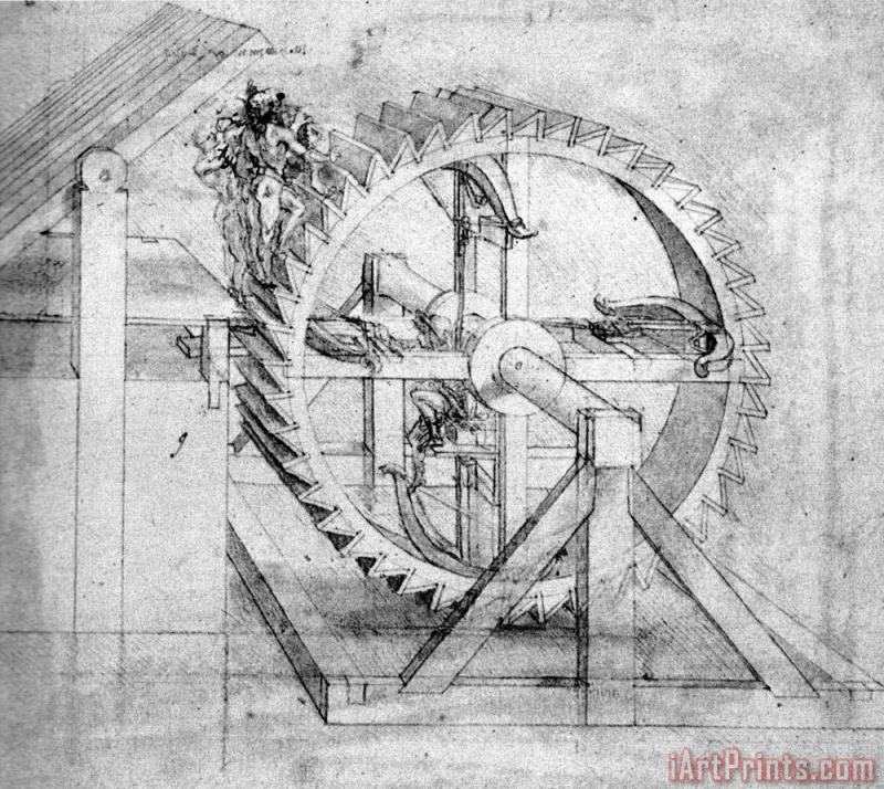 Wooden Gears Drawing painting - Leonardo da Vinci Wooden Gears Drawing Art Print