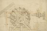 Great Sling Rotating On Horizontal Plane Great Wheel And Crossbows Devices From Atlantic Codex by Leonardo da Vinci