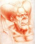Grotesque Head Chalk Drawing by Leonardo da Vinci