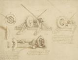 Winch Great Spring Catapult And Ladder From Atlantic Codex by Leonardo da Vinci