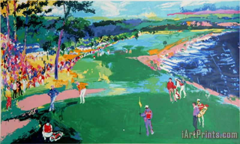 Golf Putting Pebble Beach painting - Leroy Neiman Golf Putting Pebble Beach Art Print