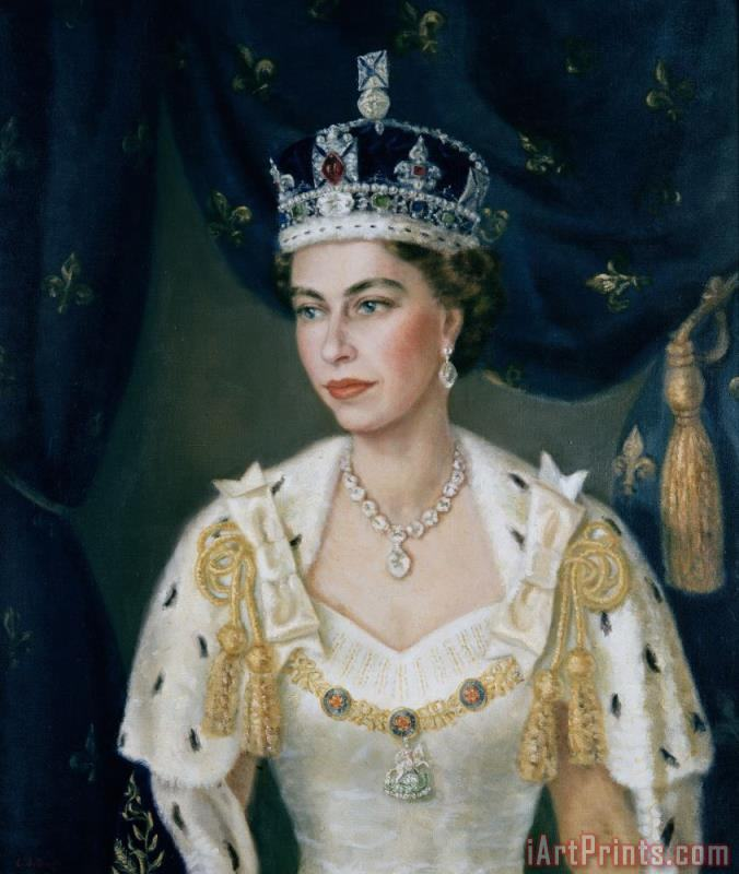 Portrait of Queen Elizabeth II wearing coronation robes and the Imperial State Crown painting - Lydia de Burgh Portrait of Queen Elizabeth II wearing coronation robes and the Imperial State Crown Art Print