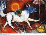 1946 Prints - Cow with Parasol 1946 by Marc Chagall