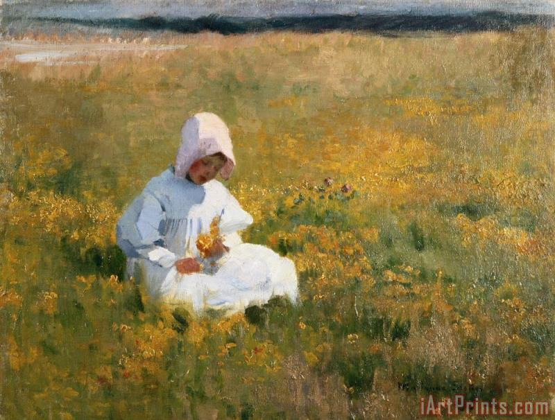 In a Field of Buttercups painting - Marianne Stokes In a Field of Buttercups Art Print