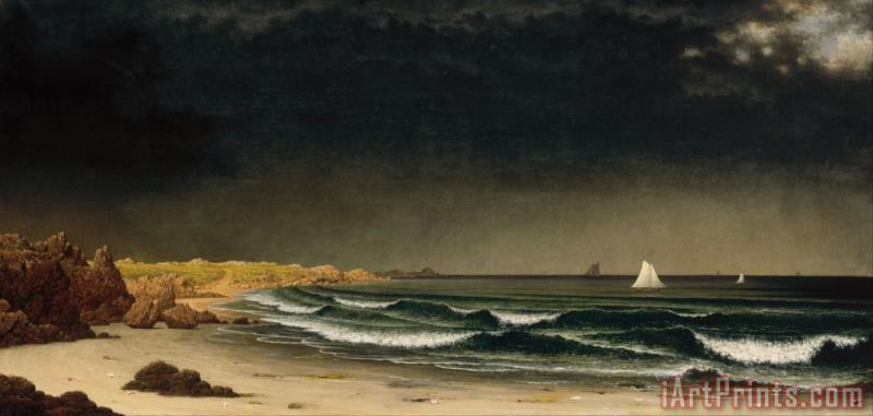 Martin Johnson Heade Approaching Storm Beach Near Newport Art Print