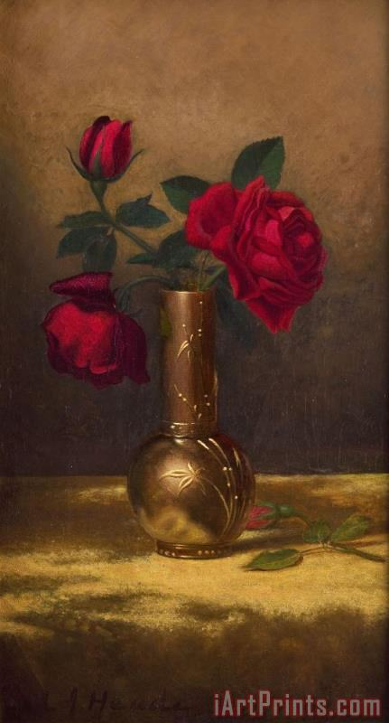 Martin Johnson Heade Red Roses in a Japanese Vase on a Gold Velvet Cloth Art Print