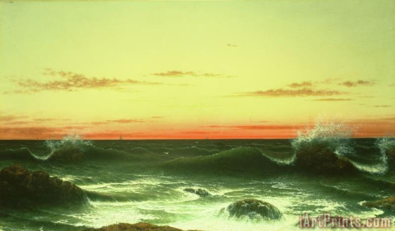 Martin Johnson Heade Seascape Sunset 1861 Art Print