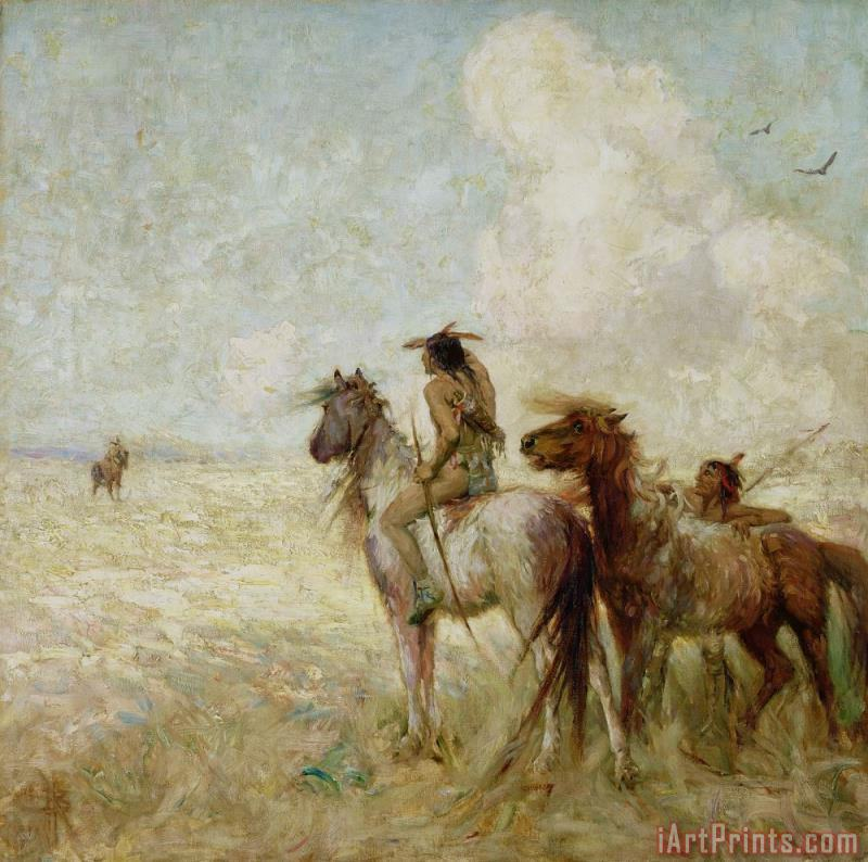 The Bison Hunters painting - Nathaniel Hughes John Baird The Bison Hunters Art Print