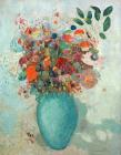 Flowers In A Turquoise Vase by Odilon Redon