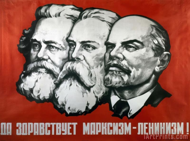 Poster depicting Karl Marx Friedrich Engels and Lenin painting - Others Poster depicting Karl Marx Friedrich Engels and Lenin Art Print