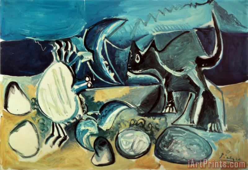 Cat And Crab on The Beach 1965 painting - Pablo Picasso Cat And Crab on The Beach 1965 Art Print