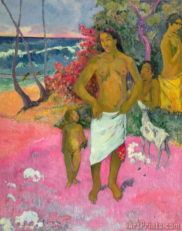 A Walk by the Sea painting - Paul Gauguin A Walk by the Sea Art Print