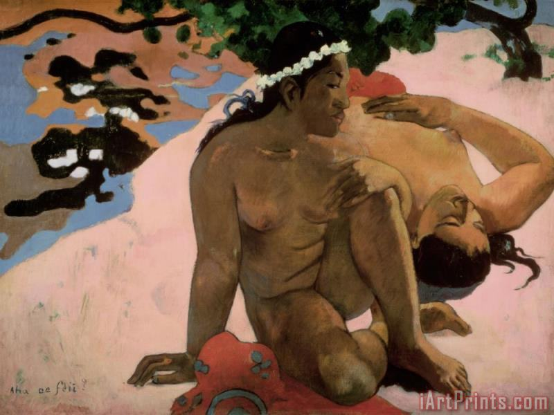 Paul Gauguin Are You Jealous Art Print