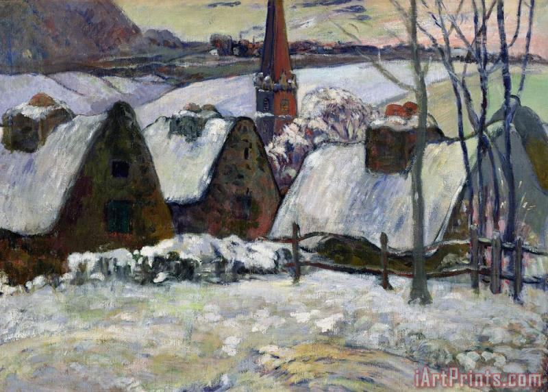 Breton village under snow painting - Paul Gauguin Breton village under snow Art Print