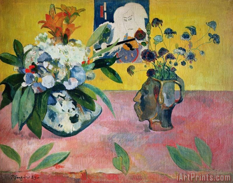 Paul Gauguin Flowers and a Japanese Print Art Print