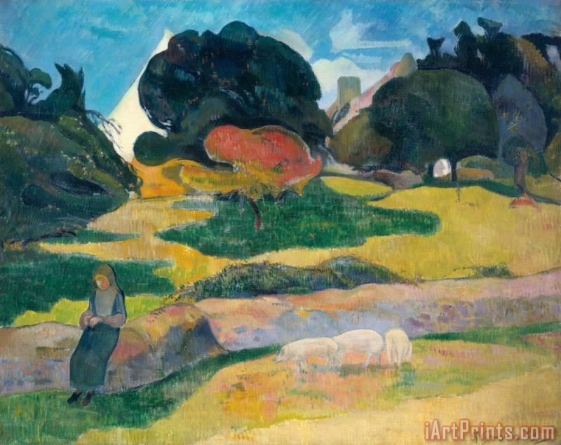 Girl Herding Pigs painting - Paul Gauguin Girl Herding Pigs Art Print
