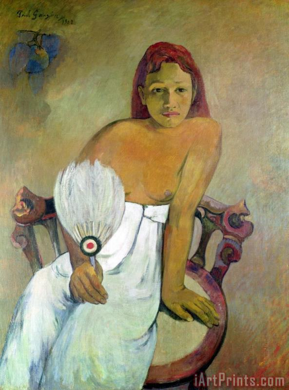 Girl with fan painting - Paul Gauguin Girl with fan Art Print