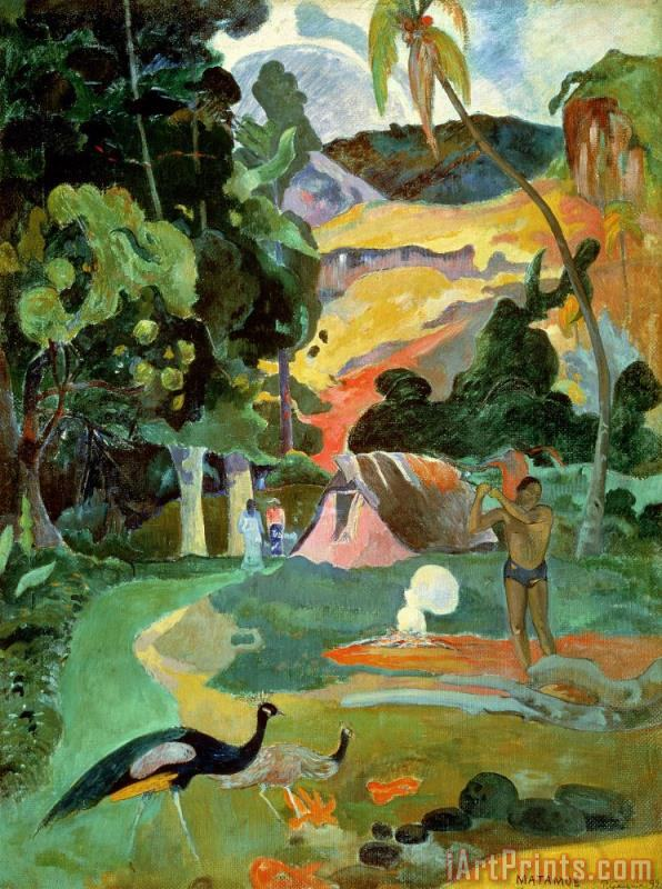 Matamoe or Landscape with Peacocks painting - Paul Gauguin Matamoe or Landscape with Peacocks Art Print