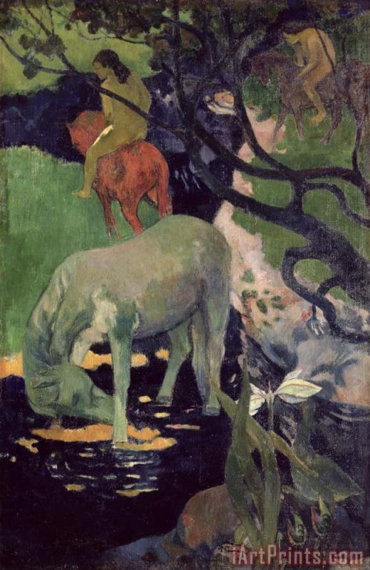 The White Horse painting - Paul Gauguin The White Horse Art Print
