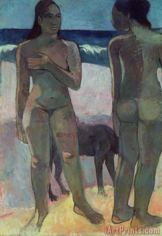 Two Tahitian Women on the Beach painting - Paul Gauguin Two Tahitian Women on the Beach Art Print