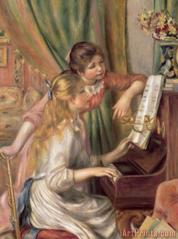 Young Girls at the Piano painting - Pierre Auguste Renoir Young Girls at the Piano Art Print