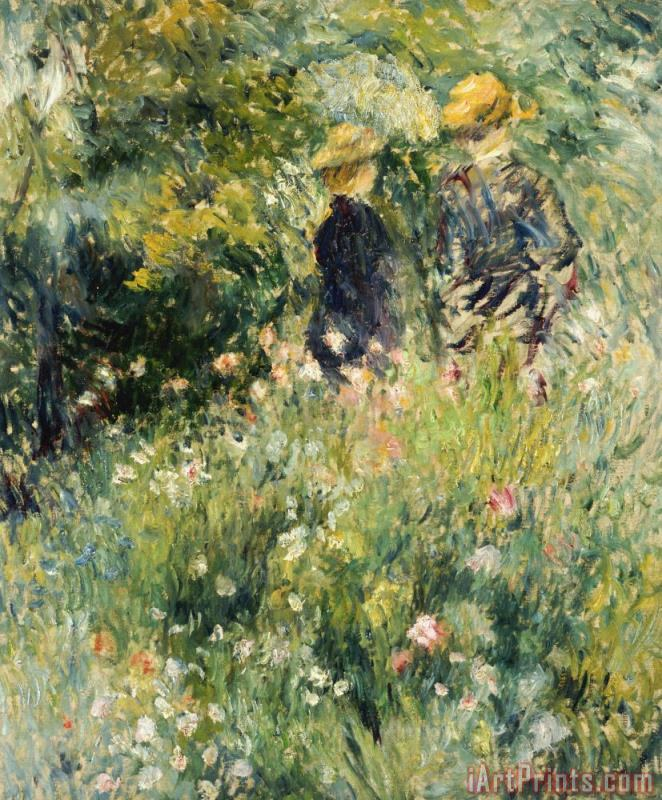 Pierre Auguste Renoir Conversation in a Rose Garden Art Print