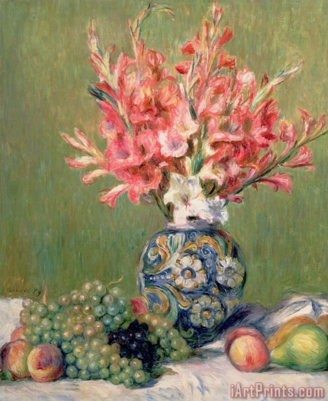 Still life of Fruits and Flowers painting - Pierre Auguste Renoir Still life of Fruits and Flowers Art Print