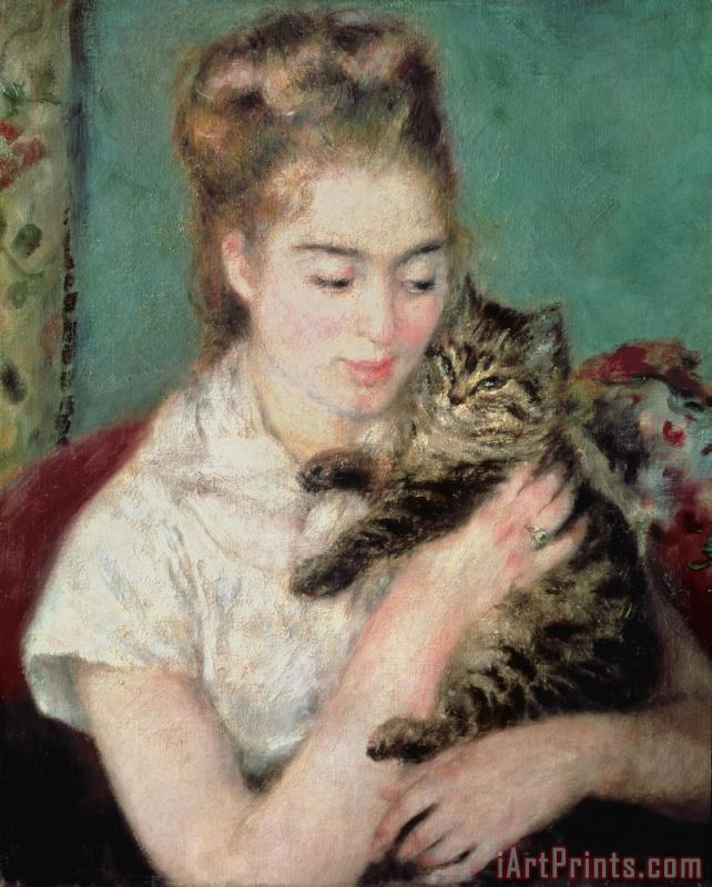 Woman with a Cat painting - Pierre Auguste Renoir Woman with a Cat Art Print