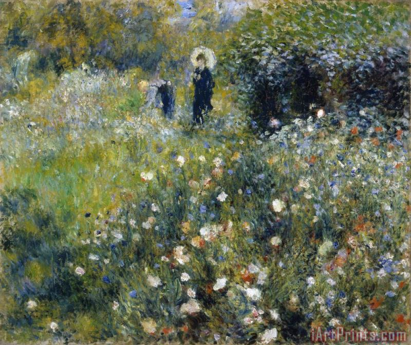 Woman With Umbrella In Garden painting - Pierre Auguste Renoir Woman With Umbrella In Garden Art Print