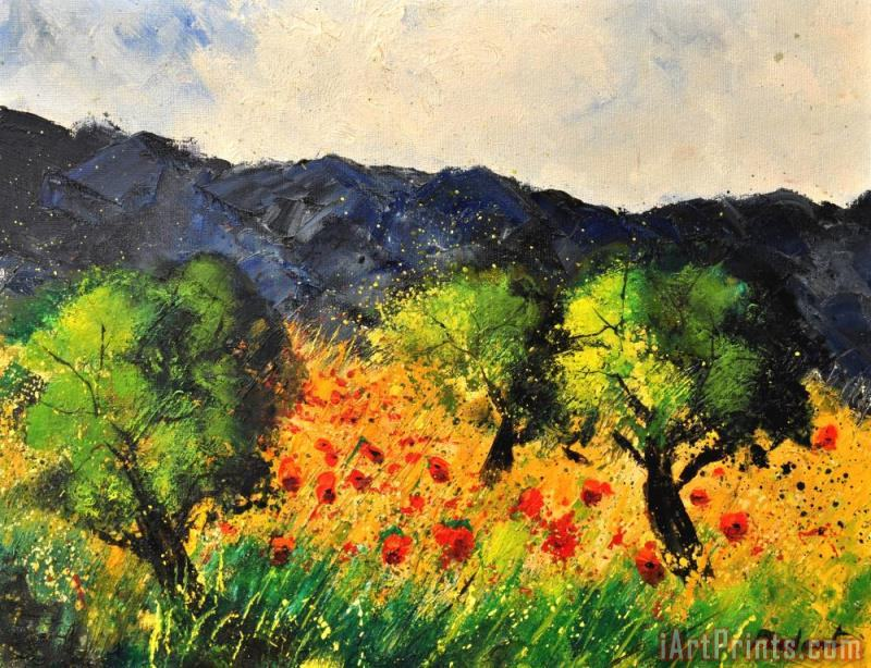 Olive trees and poppies painting - Pol Ledent Olive trees and poppies Art Print
