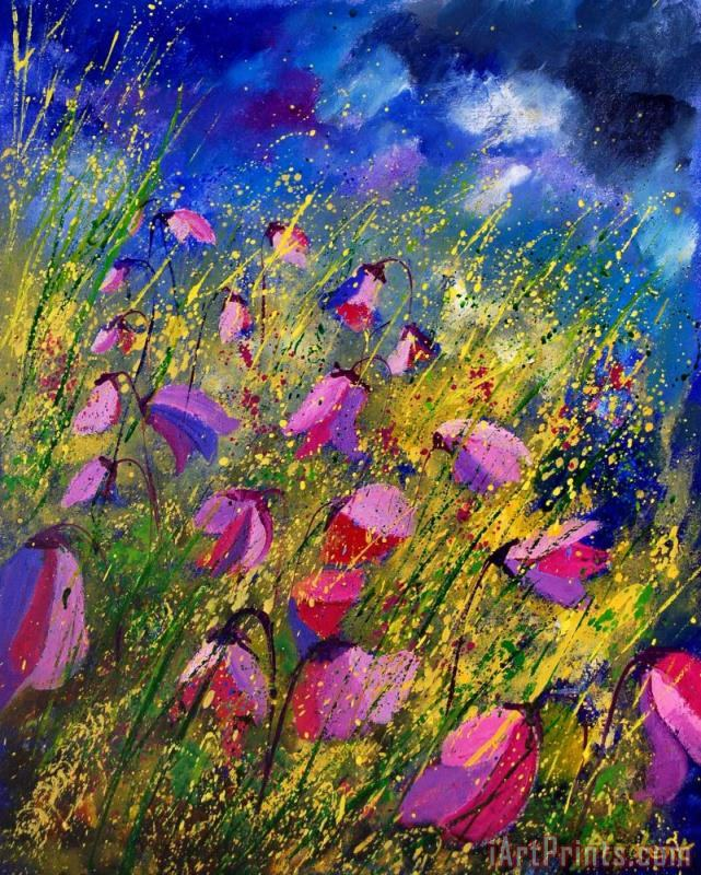 Purple Wild Flowers painting - Pol Ledent Purple Wild Flowers Art Print