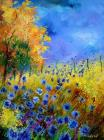 Tree Paintings - Orange tree and blue cornflowers by Pol Ledent
