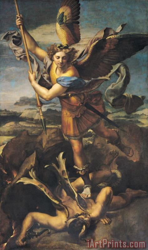 Saint Michael Overwhelming the Demon painting - Raphael Saint Michael Overwhelming the Demon Art Print