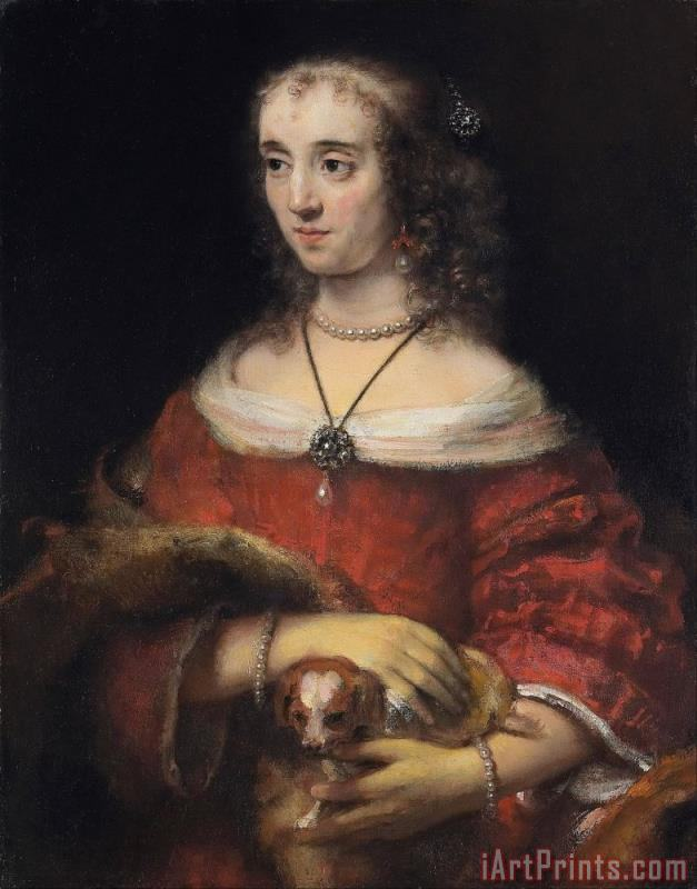 Portrait of a Lady with a Lap Dog painting - Rembrandt Harmensz van Rijn Portrait of a Lady with a Lap Dog Art Print