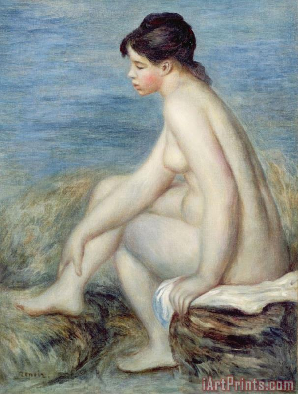 Seated Bather painting - Renoir Seated Bather Art Print