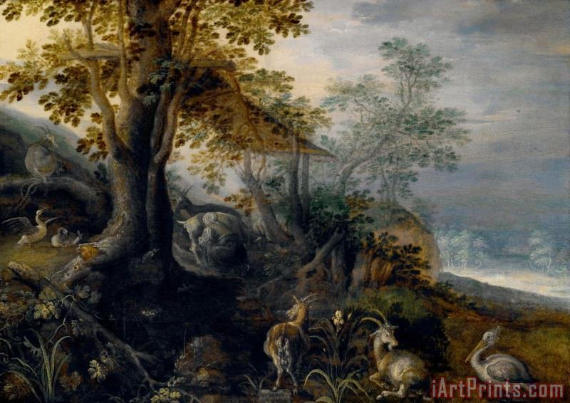 Landscape with Animals painting - Roelant Savery Landscape with Animals Art Print