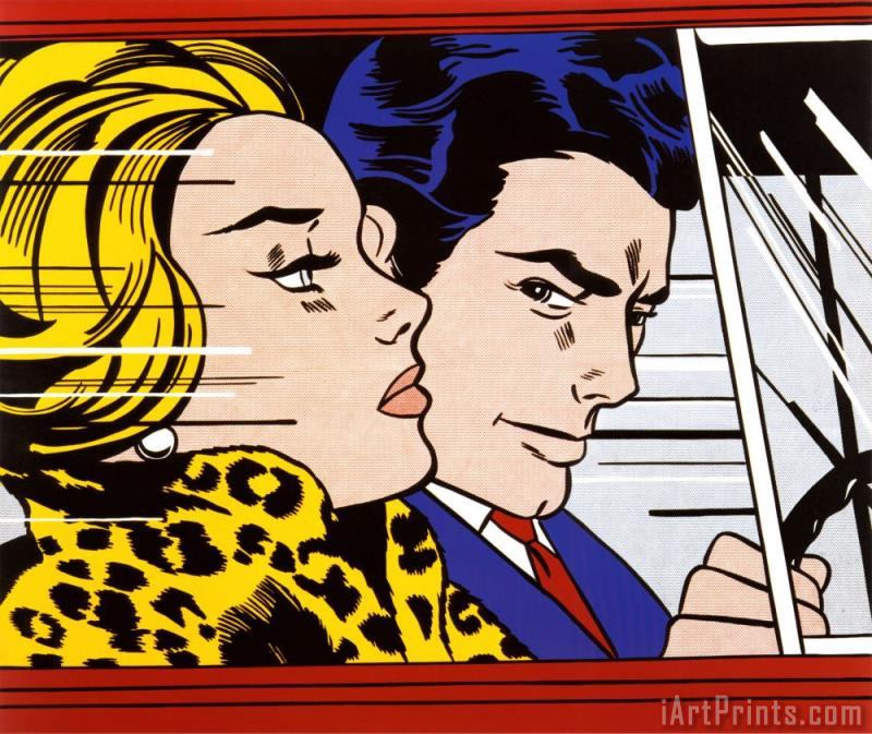 In The Car 1963 painting - Roy Lichtenstein In The Car 1963 Art Print