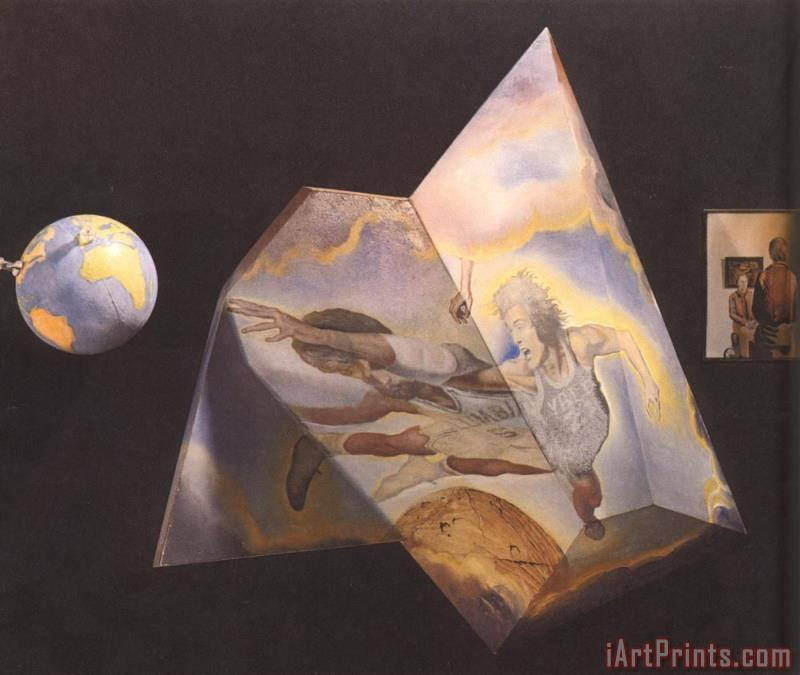 Polyhedron Basketball Players Being Transformed Into Angels Assembling a Hologram The Central painting - Salvador Dali Polyhedron Basketball Players Being Transformed Into Angels Assembling a Hologram The Central Art Print