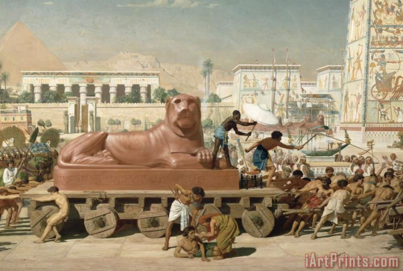 Sir Edward John Poynter Statue of Sekhmet being transported detail of Israel in Egypt Art Print