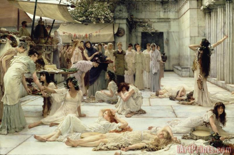 The Women of Amphissa painting - Sir Lawrence Alma-Tadema The Women of Amphissa Art Print