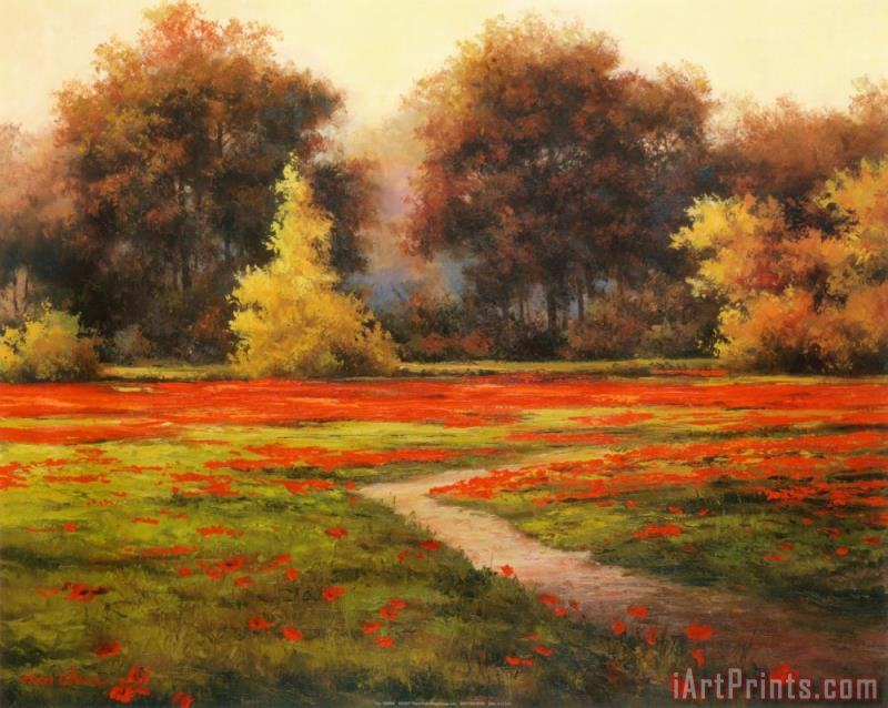 Poppy Meadows I painting - T. C. Chiu Poppy Meadows I Art Print