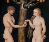 Eve Offering The Apple to Adam In The Garden of Eden by The Elder Lucas Cranach