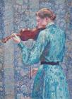 Marie Anne Weber Playing The Violin by Theo van Rysselberghe