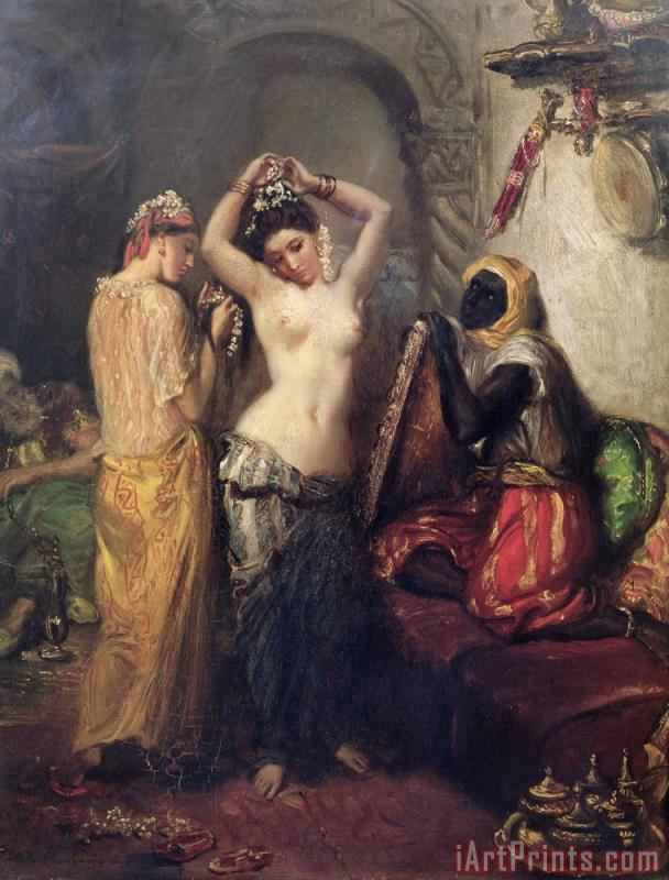 The Toilet in the Seraglio painting - Theodore Chasseriau The Toilet in the Seraglio Art Print